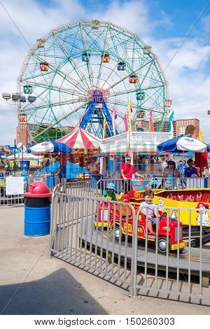 NEW YORK,USA - AUGUST 18,2016 : The Luna Park amusement park at Coney Island in New York City