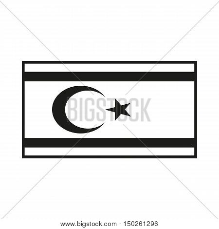 Northern Cyprus Flag. Icon Created For Mobile Web Decor Print Products Applications. Simple black icon isolated on white background. Vector illustration.