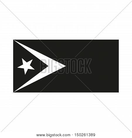 Flag of East Timor. Icon Created For Mobile Web Decor Print Products Applications. Simple black icon isolated on white background. Vector illustration.