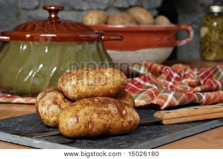 Rustic still life image of fresh potatoes on slate cutting board with stoneware dishes and color coordinated napkin.  Stone fireplace in background.  Close-up with shallow dof.