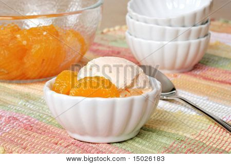 Delicious mandarin orange dessert (made with gelatin, whipped topping and oranges) in small dish with bowl of orange segments in background.  Macro with shallow dof.