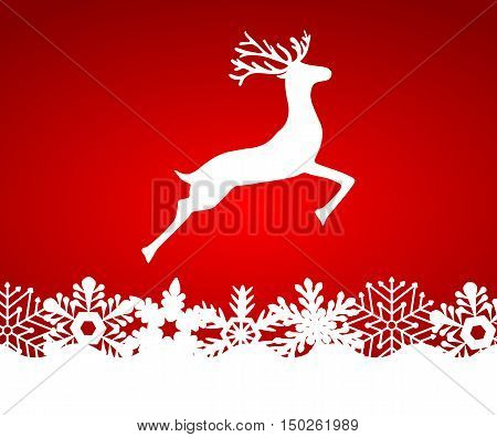 Reindeer on red background with snowflakes, vector illustration