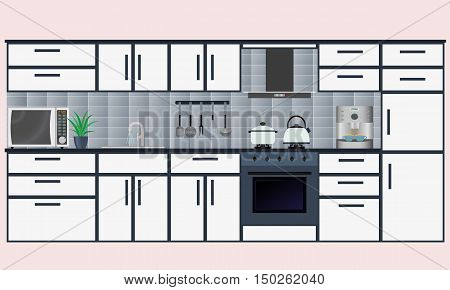 Kitchen interior in the flat style with furniture and equipment for cooking: microwave coffee maker oven stove. Vector illustration