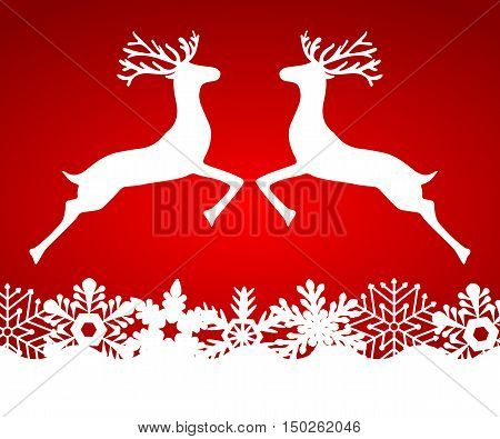 Two reindeer jump to each other on a red background with snowflakes, vector illustration