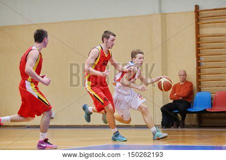 MOSCOW, RUSSIA - DECEMBER 12, 2015: Attack of CSKA during basketball match at the indoor stadium betwen CSKA and Labor Reserves teams.