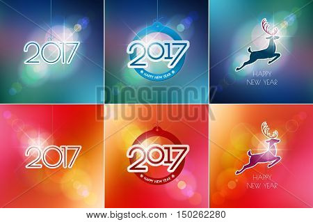 Happy New Year design elements. Merry Christmas decoration and card design. 2017, deer on red blue blurred mesh background with defocused light spots. Holiday vector abstract artwork set.