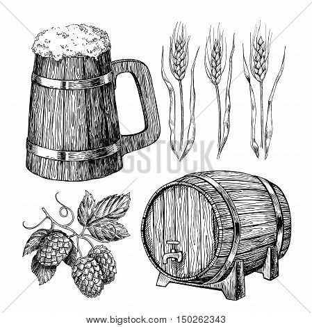 Beer vector set. Alcohol beverage hand drawn illustration.Craft Beer in wooden mug, barrel, hop, wheat grain. Great for bar, pub, menu, oktoberfest