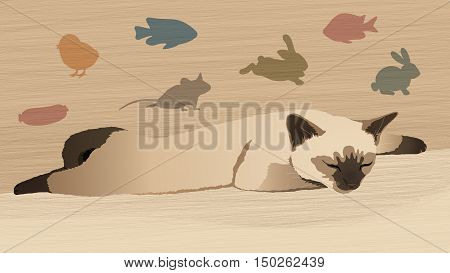 Sleeping siamese kitten with a variety of silhouettes of fishes and animals on a beige background