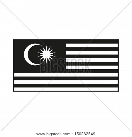 Malaysia flag. Black icon isolated on white background. Vector illustration. The Malaysia is a member of Asean Economic Community AEC
