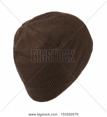 knitted beanie isolated on white background .
