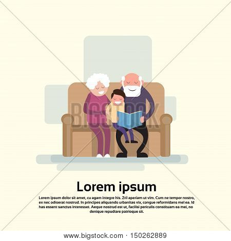Grandfather And Grandmother Sit With Grandson Reads Book Small Child Flat Vector Illustration