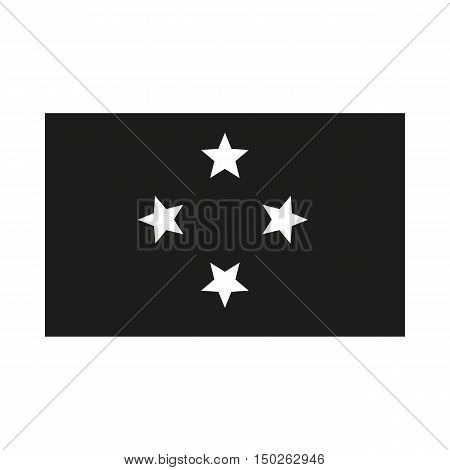 Micronesia Flag Icon Created For Mobile Web Decor Print Products Applications. Black icon isolated on white background. Vector illustration.