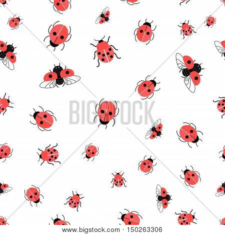 Graphic pattern bright red ladybugs on a white background