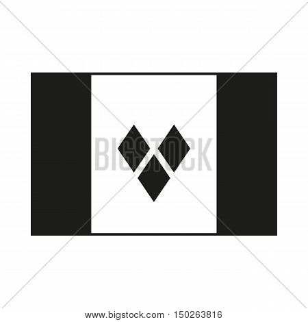 Flag of Saint Vincent and the Grenadines. Icon Created For Mobile Web Decor Print Products Applications. Black icon isolated on white background. Vector illustration.