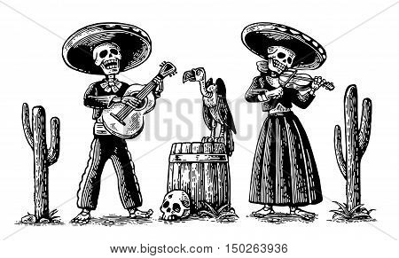 Day of the Dead Dia de los Muertos. The skeleton in the Mexican national costumes dance sing and play the guitar violin. Vector hand drawn vintage engraving for poster label. Isolated on white background