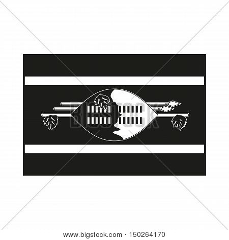 Flag of Swaziland Icon Created For Mobile Web Decor Print Products Applications. Black icon isolated on white background. Vector illustration.