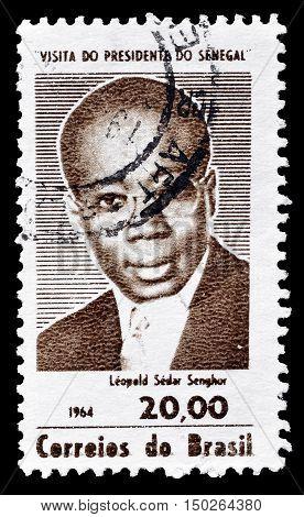 BRAZIL - CIRCA 1966 : Cancelled postage stamp printed by Brazil, that shows Leopold Sedar Senghor.