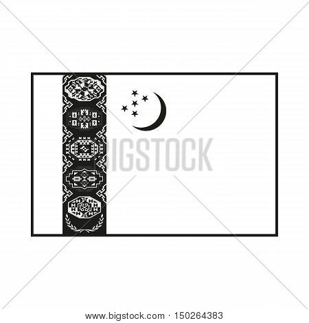 Flag of Turkmenistan Icon Created For Mobile Web Decor Print Products Applications. Black icon isolated on white background. Vector illustration.