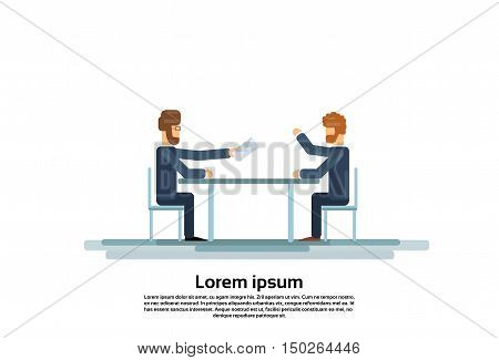 Two Business Man Talking Discussing Give Envelope Mail Document Communication Sitting at Office Desk Flat Vector Illustration