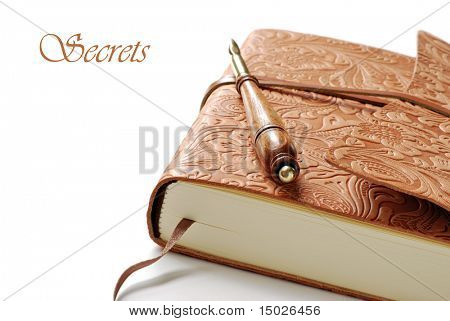 Elegant leather journal with calligraphy pen on white background.  Macro with shallow dof and copy space.