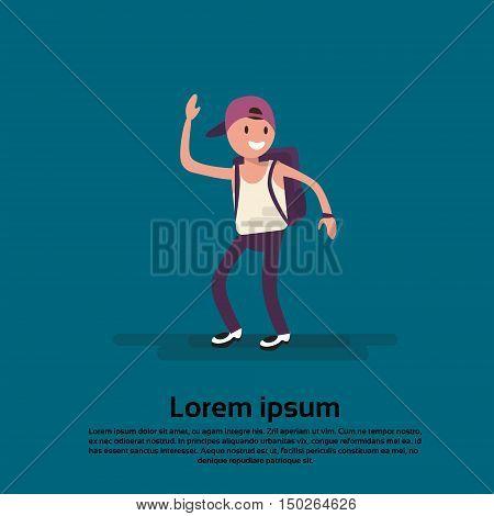 Cartoon Teenager Boy Wave Hand Smile Flat Vector Illustration