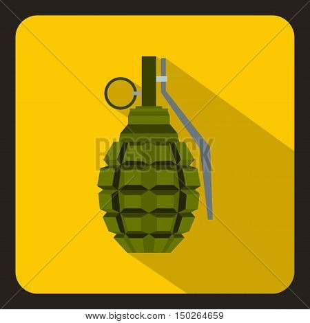 Hand grenade, bomb explosion icon in flat style with long shadow vector illustration