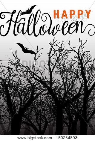 Vector illustration of happy halloween greeting card with scary forest and bat. Happy Halloween text lettering sign with tree silhouette.
