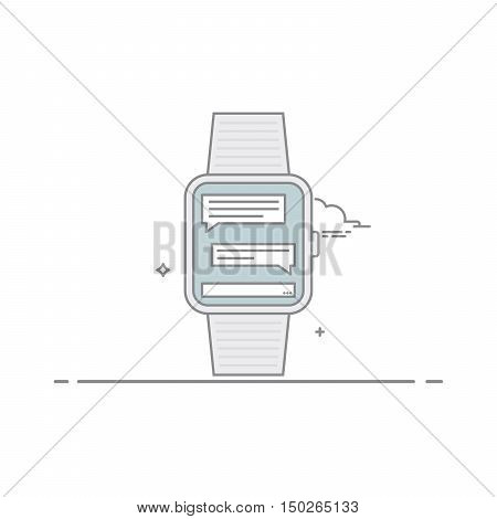 Smart watch. The concept of mobile application interface. online correspondence. Mobile messenger. Isolated on white background. The vector in a linear style