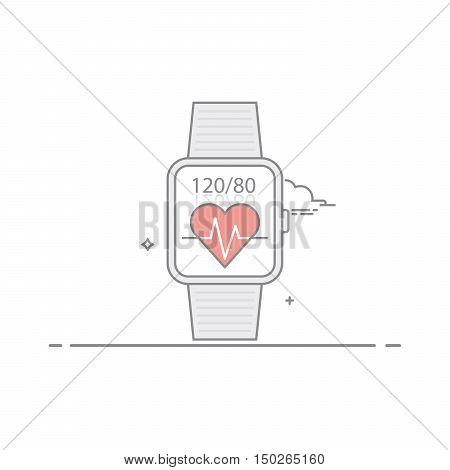 Smart watch. Follow health indications. Pulse and heart pressure. The concept of mobile application interface. Isolated on white background. The vector in a linear style