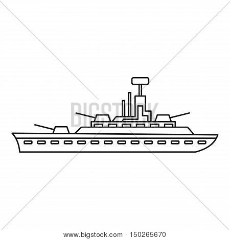 Military warship icon in outline style isolated on white background vector illustration