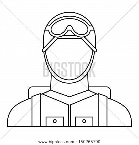 Military paratrooper icon in outline style isolated on white background vector illustration