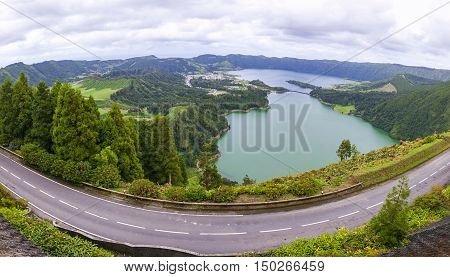 Panoramic View Of The Lakes Of Sete Cidades, Azores, Portugal