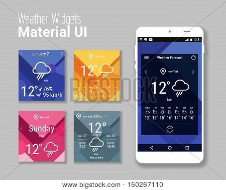Trendy mobile app weather widgets UI kit, on trendy material background, with smartphone mockup and bold line icons