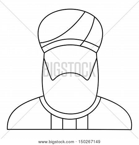 Arabian man in a turban icon in outline style on a white background vector illustration