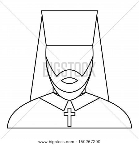 Orthodox priest icon in outline style on a white background vector illustration