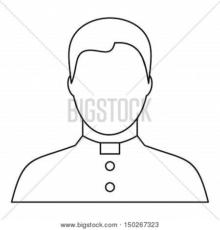 Catholic priest icon in outline style on a white background vector illustration