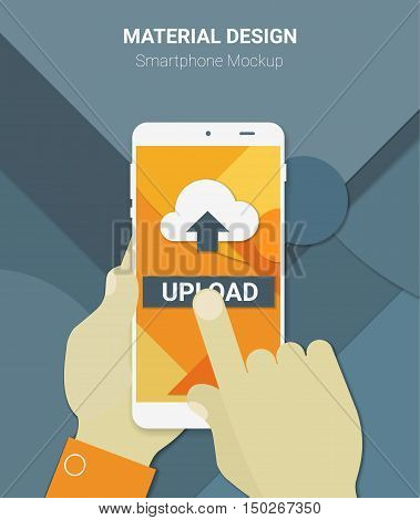 Material design hands holding mobile device with uploading app, on trendy material background