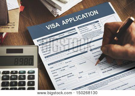 Visa Application Form Immigration Concept
