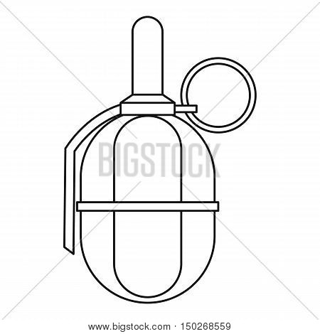 Hand paintball grenade icon in outline style on a white background vector illustration
