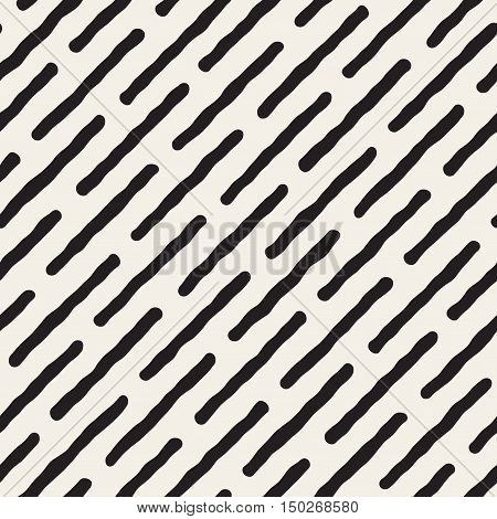 Vector Seamless Black And White Diagonal Lines Pattern. Abstract Freehand Background Design