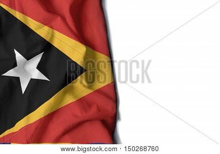 East Timor Wrinkled Flag, Space For Text