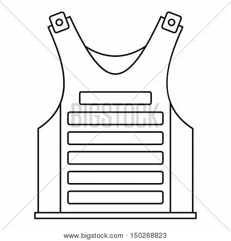 Military vest icon in outline style on a white background vector illustration