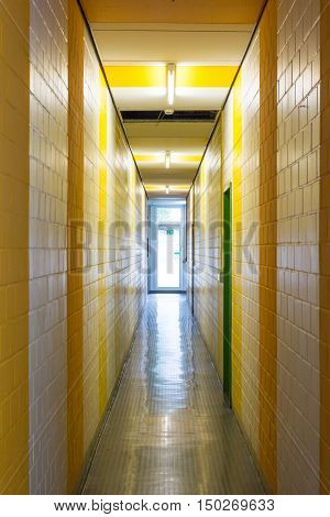 Yellow White Stripes Hallway Narrow Architecture Painted Exit Glass Door Interior