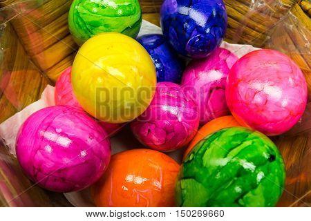 Easter Egg Colorful Basket Painted Food Festive Season Celebration Holiday