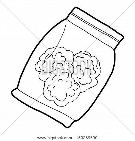 Small bag with buds of medical marijuana icon in outline style on a white background vector illustration