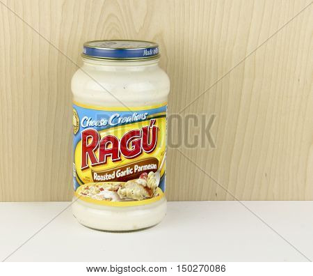 Spencer Wisconsin - October 4 2016 Jar of Ragu' Cheese Creations Ragu' originated in northern Italy