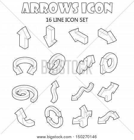 Arrow icons set in cartoon style. Various arrows set collection vector illustration