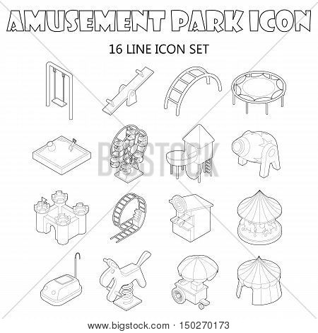 Amusement park icons set in outline style. Attraction park set collection. vector illustration