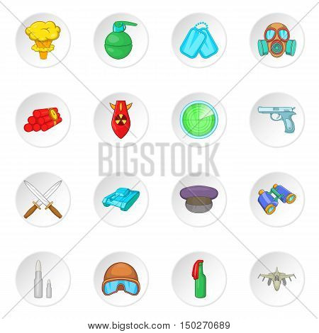 War icons set in cartoon style. Military equipment set collection vector illustration