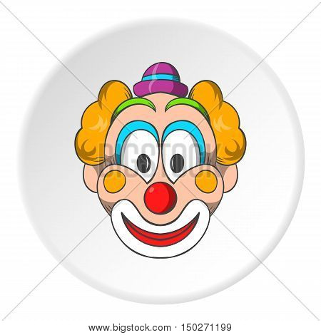 Head clown icon in cartoon style isolated on white circle background. Jester symbol vector illustration